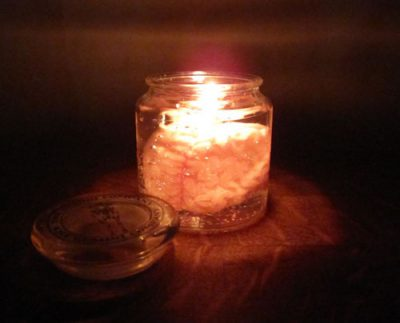 Brain in a Jar candle, lit